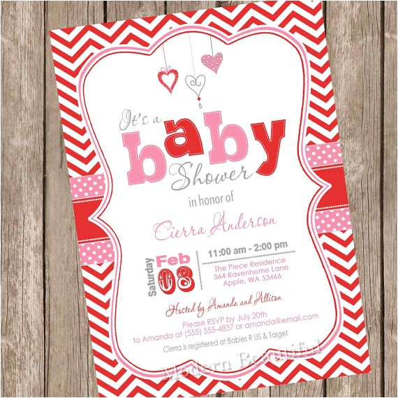 valentines day baby shower invitation