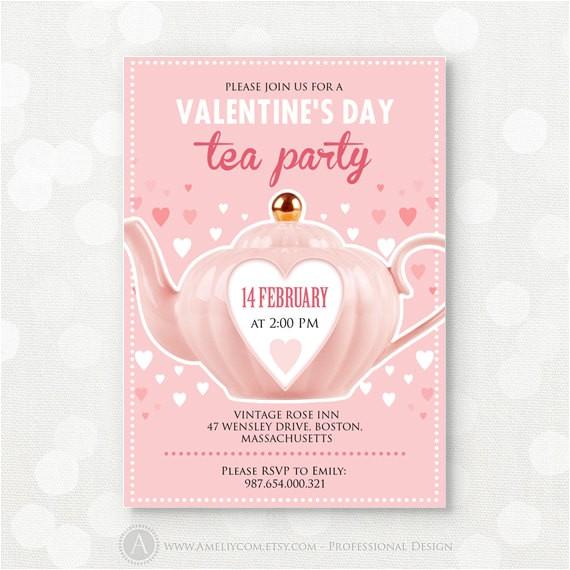 valentine day tea party invitation