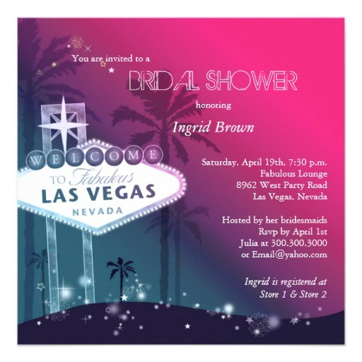 glitz glam las vegas bridal shower invitations