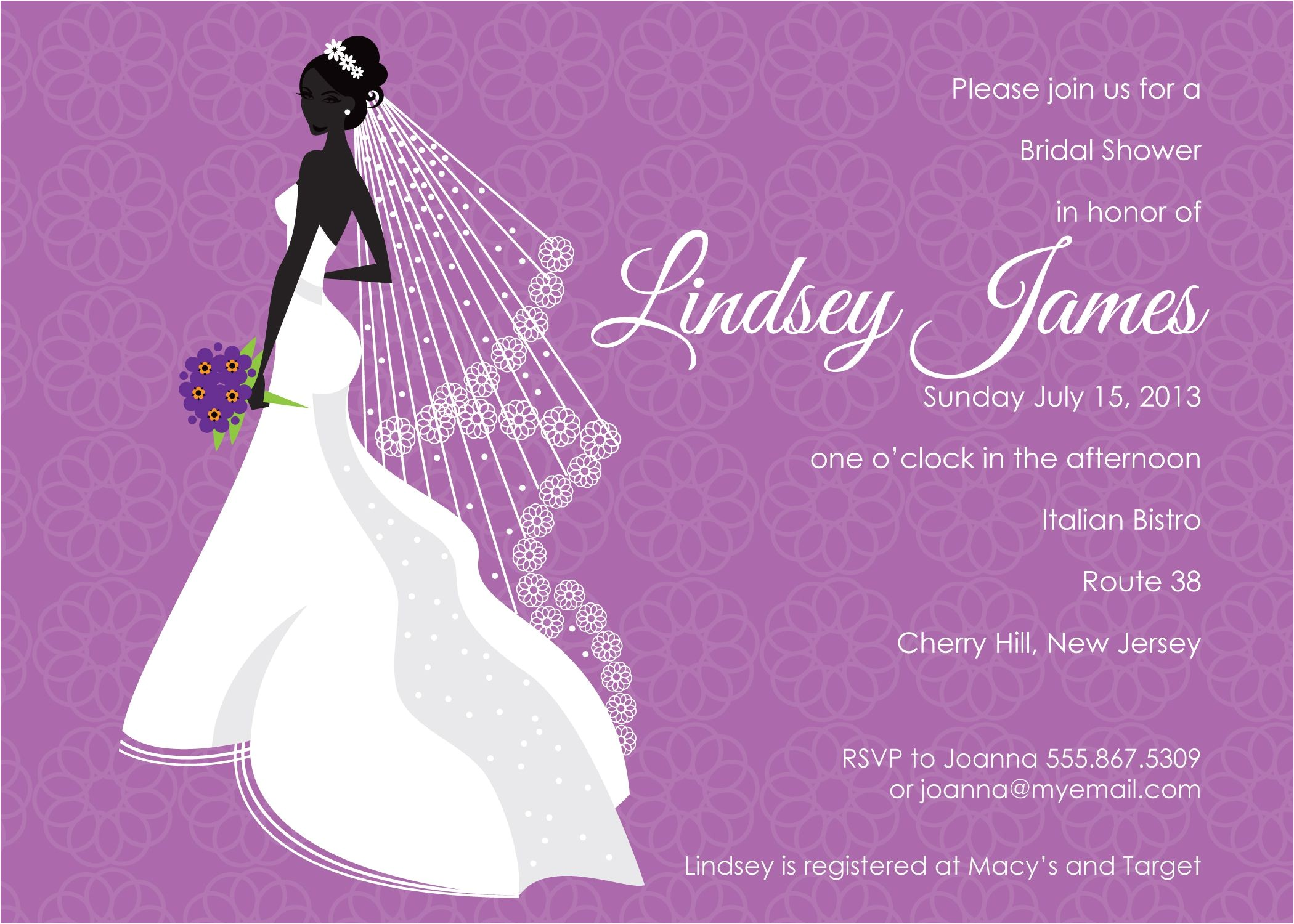 cheap bridal shower invitations purple