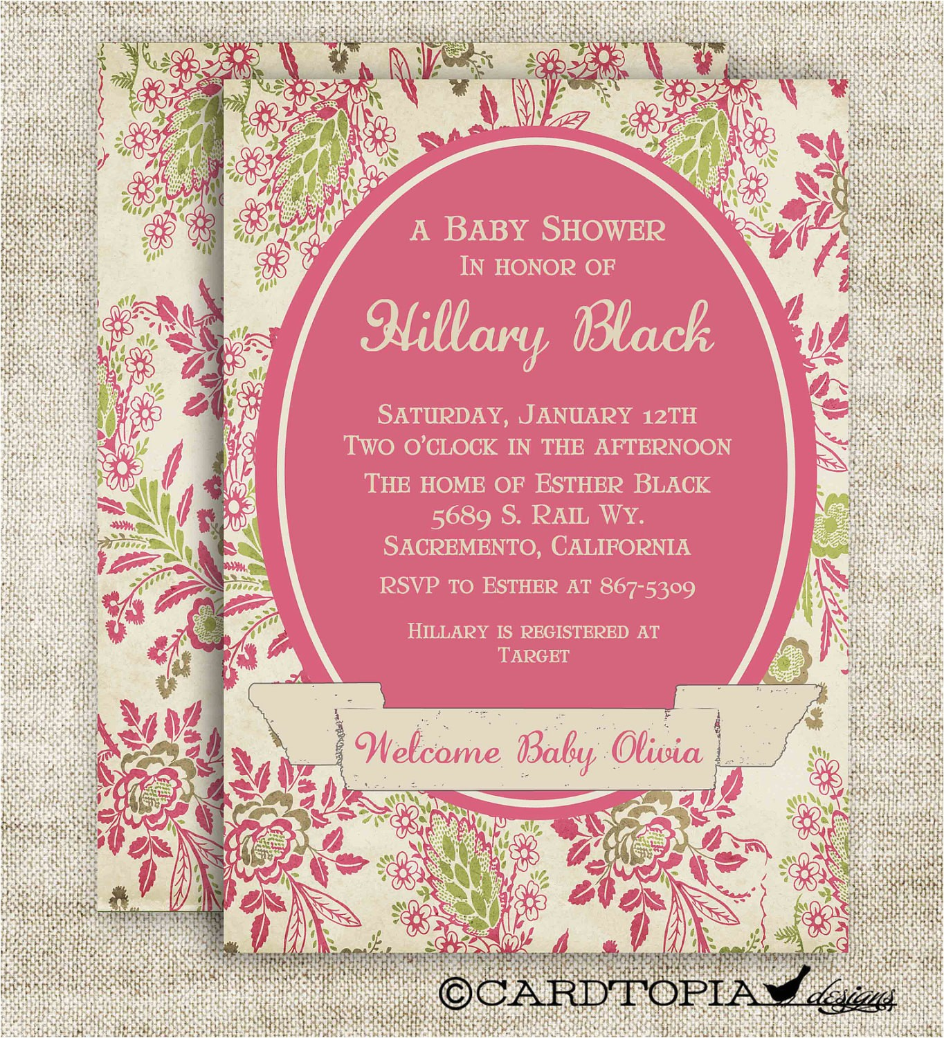 victorian girl baby shower invitations