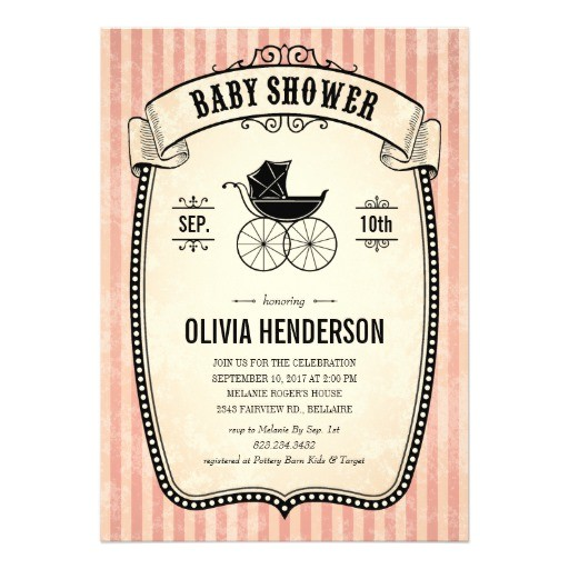 "Victorian Baby Shower Invitations Victorian Vintage Baby Shower Invitations for Girl 5"" X 7"