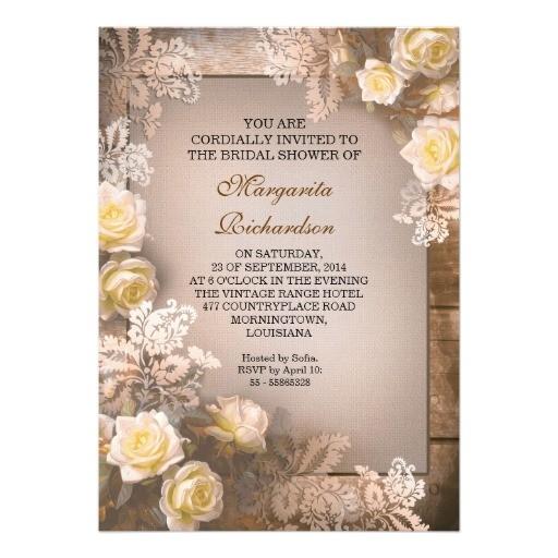 elegant victorian roses bridal shower invitations
