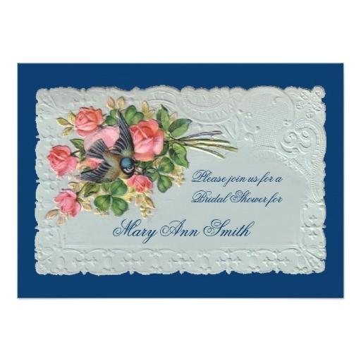 victorian rose wedding shower invitation