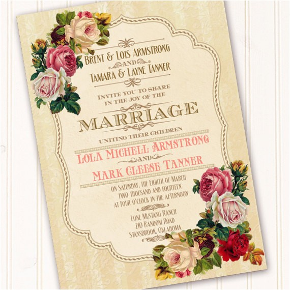 victorian wedding invitation classic