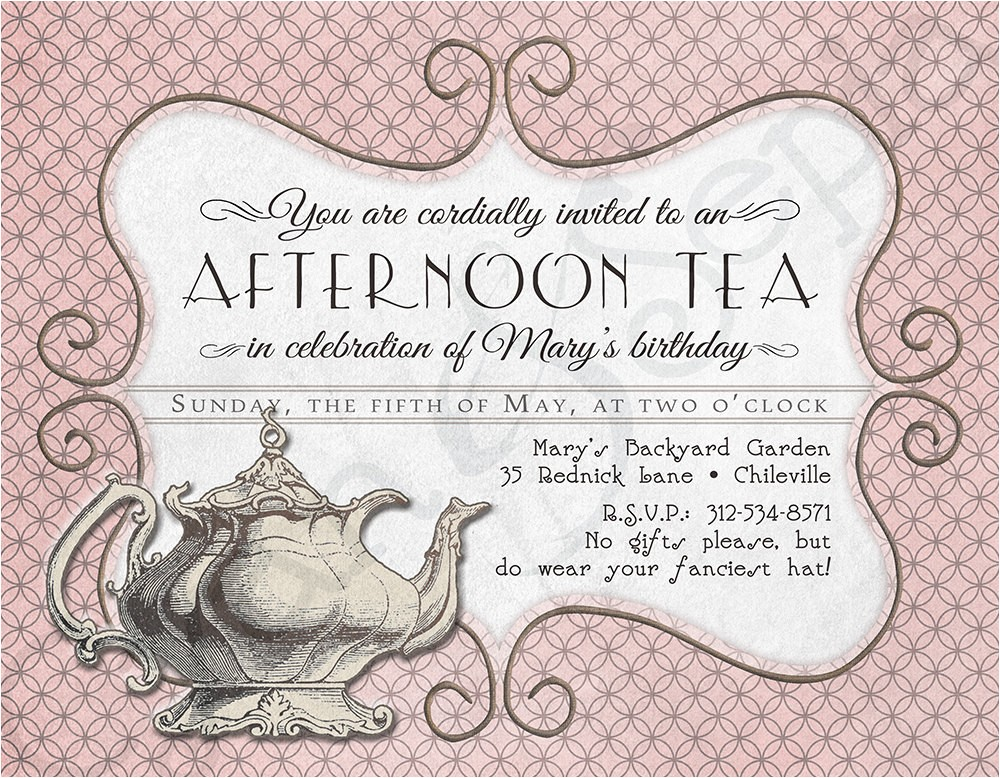 church tea party invitation template
