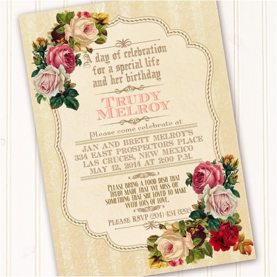 victorian celebration of life invitation