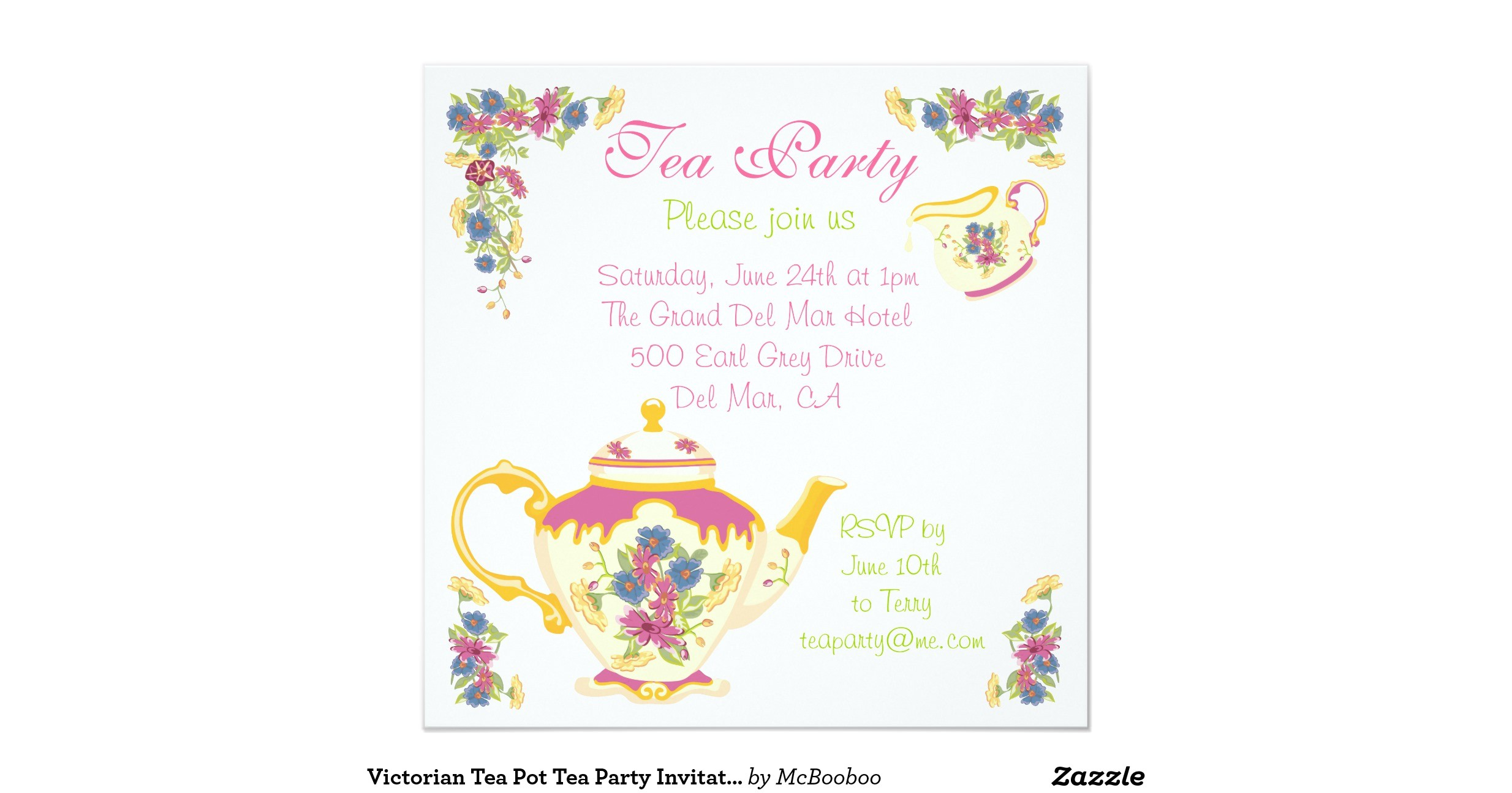 victorian tea pot tea party invitation 161408556880607223