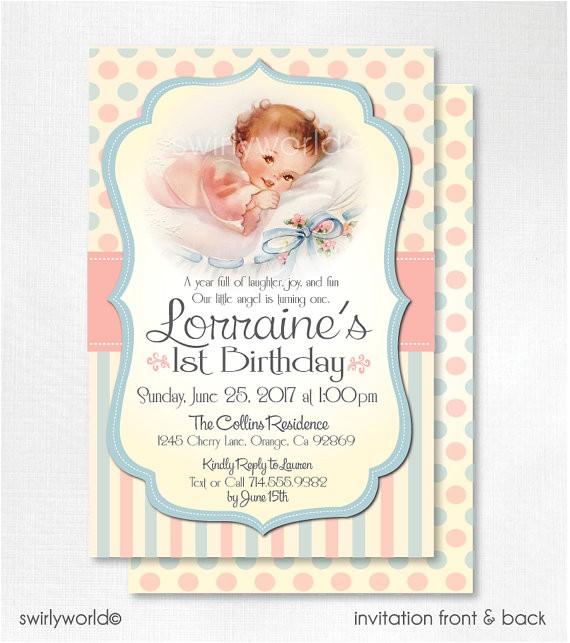 vintage 1st birthday invitations retro