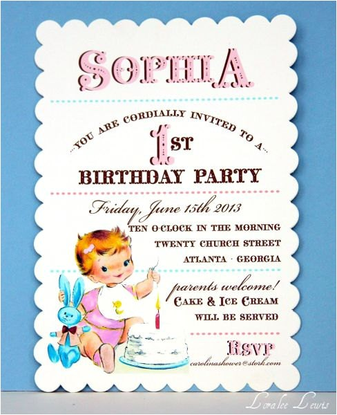 vintage first birthday girl invitations