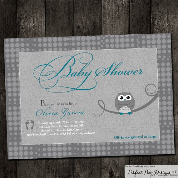 baby shower invitation vintage owl grey