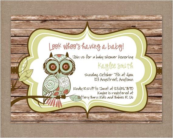 custom printable rustic vintage owl baby