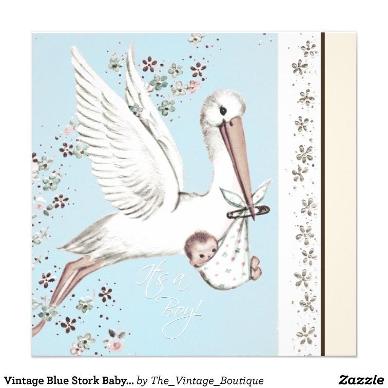 Teal Blue Vintage Stork Baby Shower Invitation