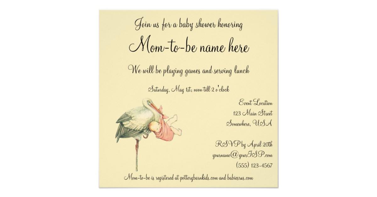 vintage stork baby girl pink blanket baby shower invitation