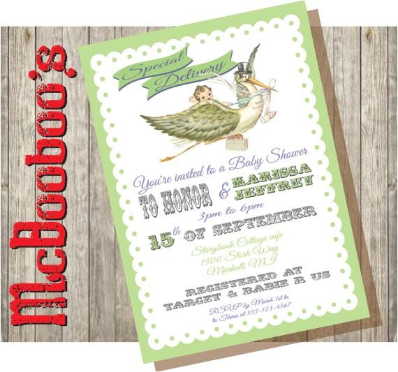 vintage storybook stork baby shower