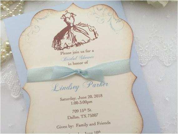 bridal shower invitations blue vintage
