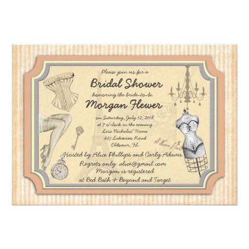 vintage style bridal lingerie shower invitation