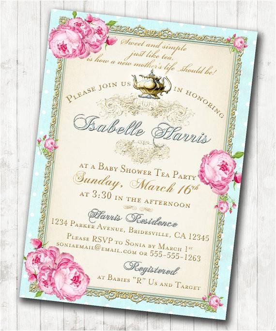 diy tea party baby shower invitations