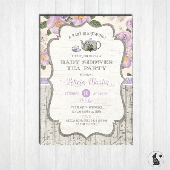 lavender baby shower tea party invitation