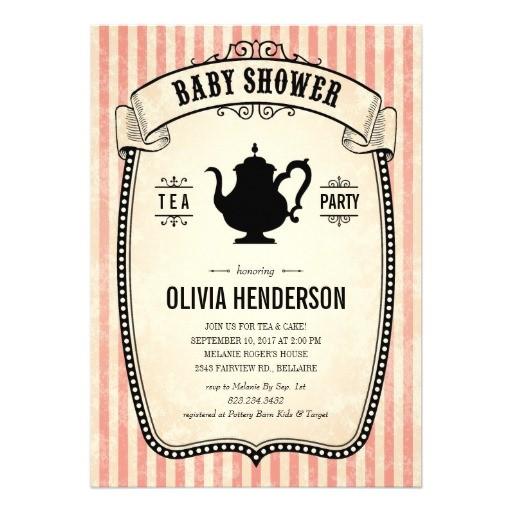 "Vintage Tea Party Baby Shower Invites Vintage Baby Shower Tea Party Invitations 5"" X 7"