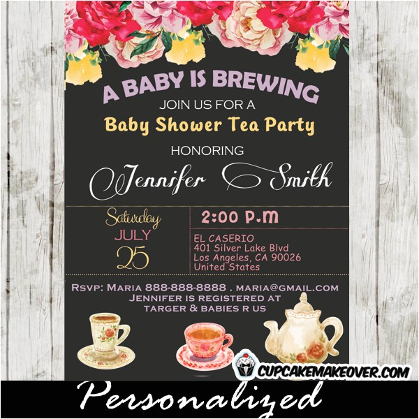 vintage floral baby shower tea party invitation personalized