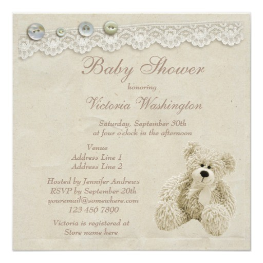 neutral teddy bear vintage lace baby shower custom invites