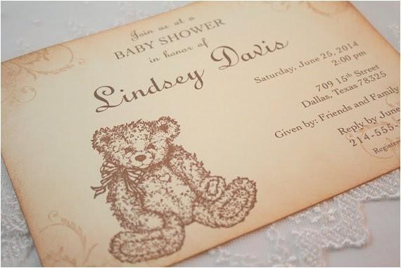 teddy bear invitations baby shower