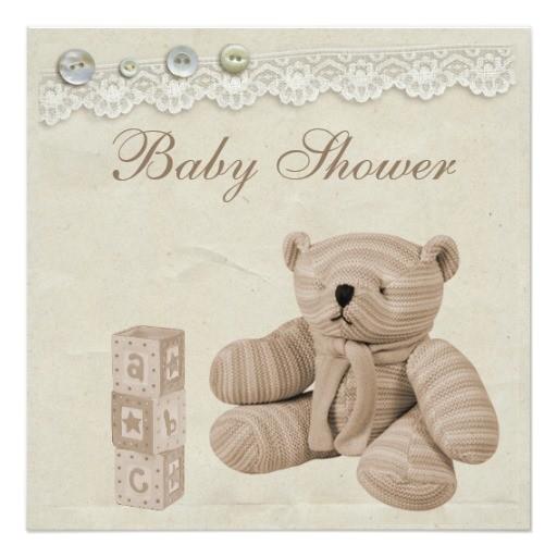 teddy bear vintage lace neutral baby shower invitation