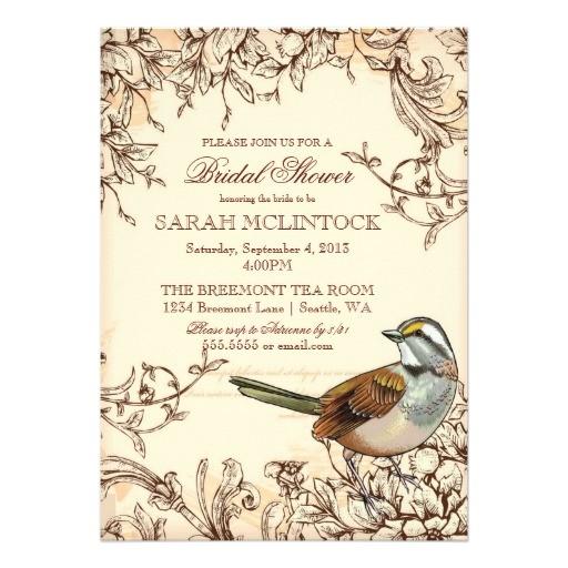 vintage swirls bridal shower bird theme invitation
