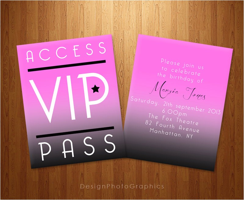 printable birthday invitation vip pass