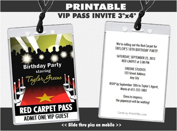 red carpet paparazzi vip pass birthday