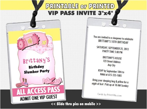 slumber party vip pass invitation