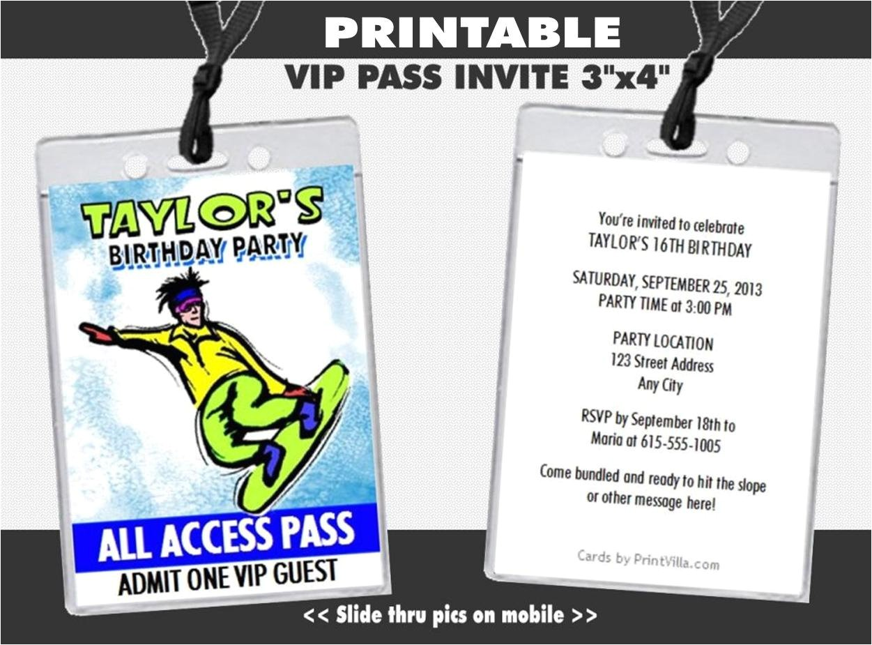 snowboarder vip pass invitation
