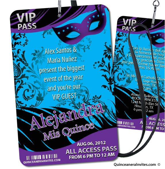 vip pass 07 masquerade party invitations