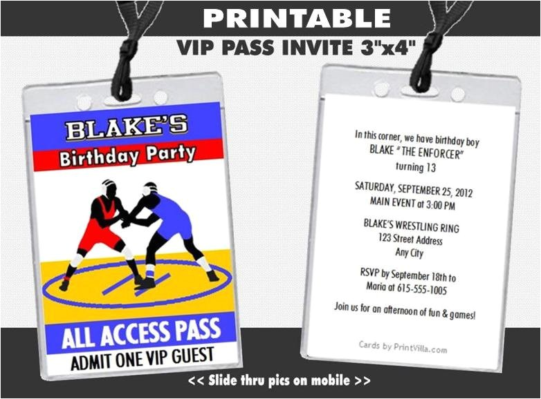wrestling match vip pass invitations