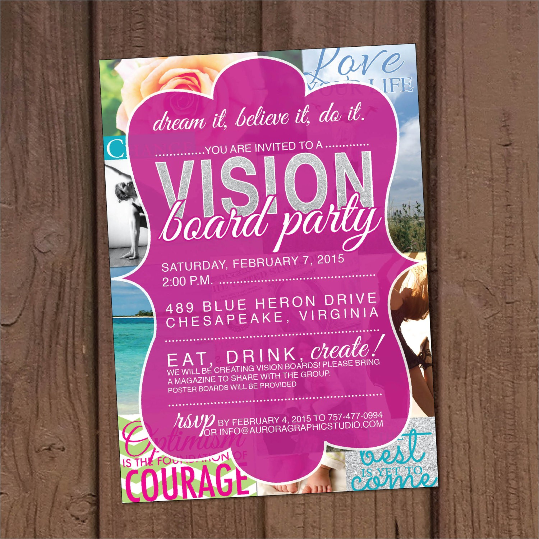 Vision Board Party Invitation Template Vision Board Party Invitation