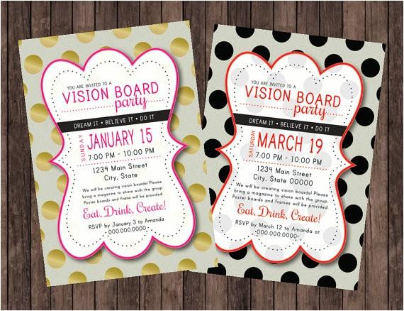vision board party polka dot invitation