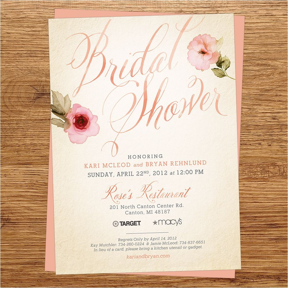 rustic bridal shower invitations vistaprint