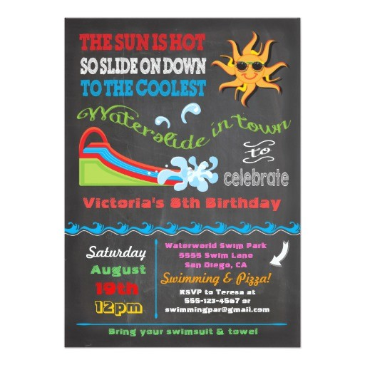 chalkboard water slide pool birthday party 5x7 paper invitation card