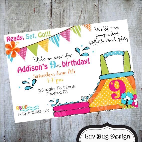 water slide luau birthday invitation