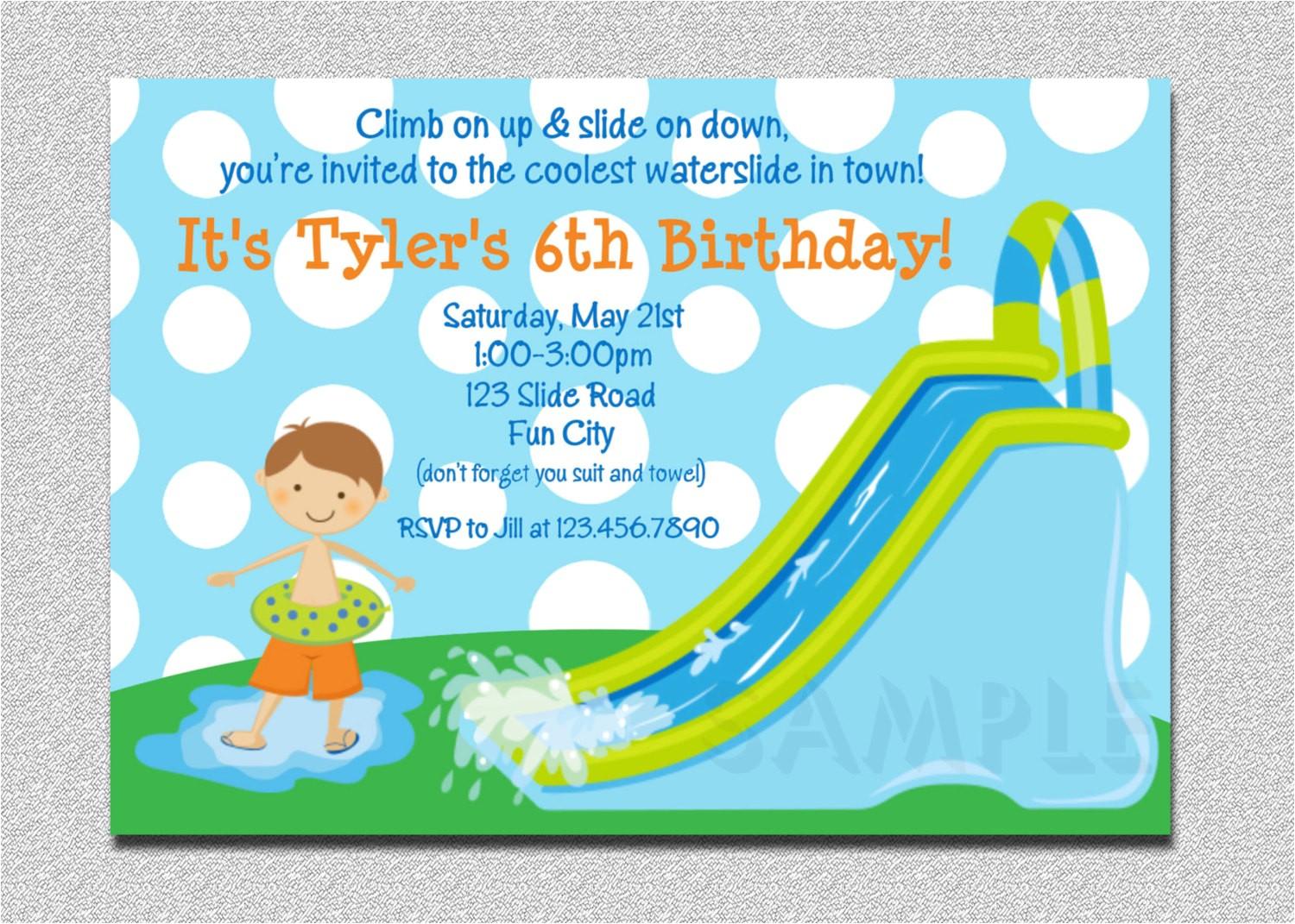 Water Slide Birthday Party Invitations Waterslide Birthday Invitations Water Slide Birthday Party
