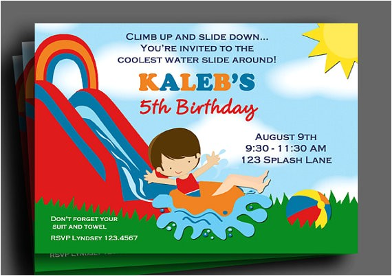 boys water slide invitation printable pick