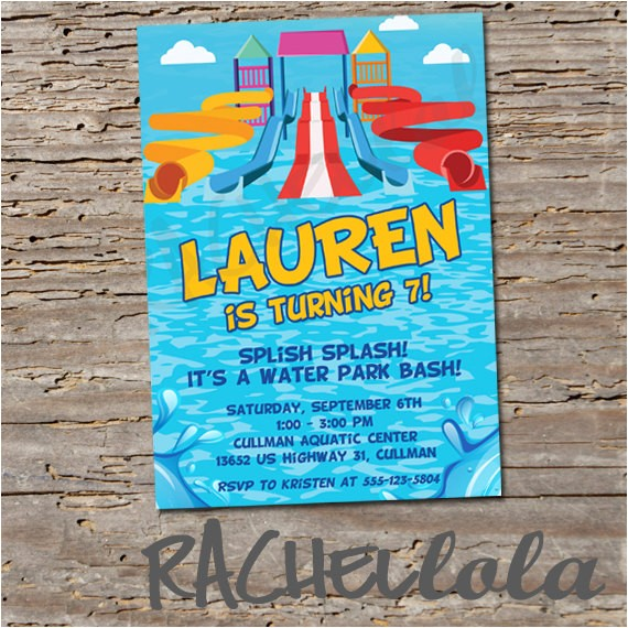 water slide birthday invitation