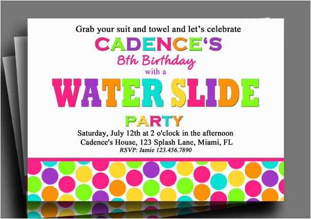 water slide invitation printable or