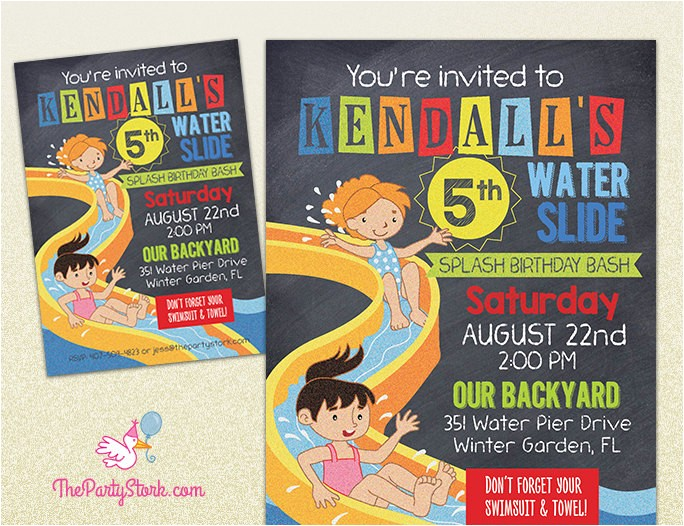 water slide party invitation printable