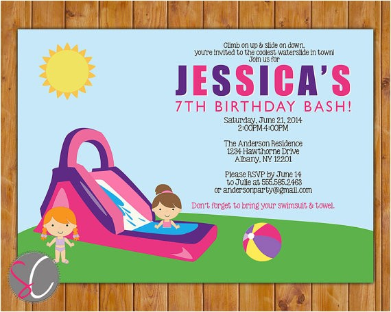 waterslide birthday party invite girls