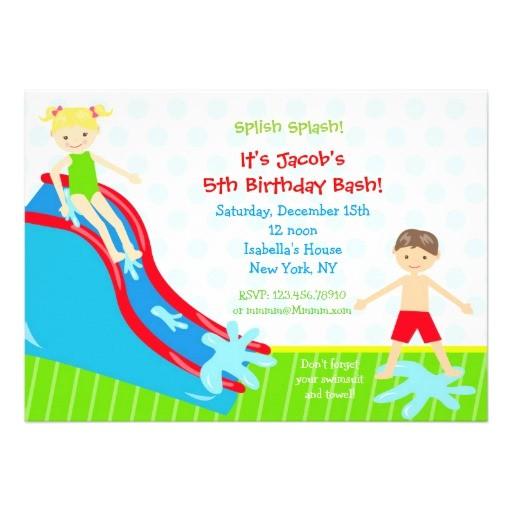 water slide waterslide birthday invitations 161575592357861638