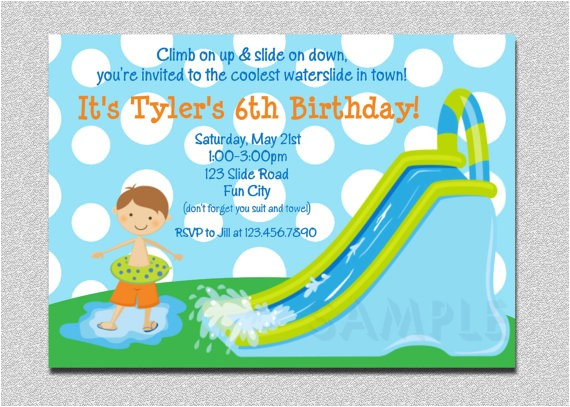 waterslide birthday invitations water
