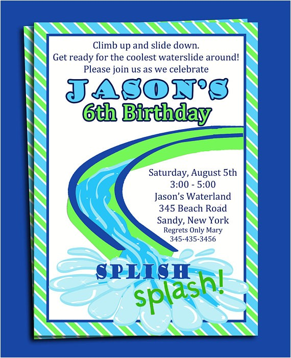 Water Slide Party Invitations Wording Water Slide Pool Party Invitation Printable or Printed with