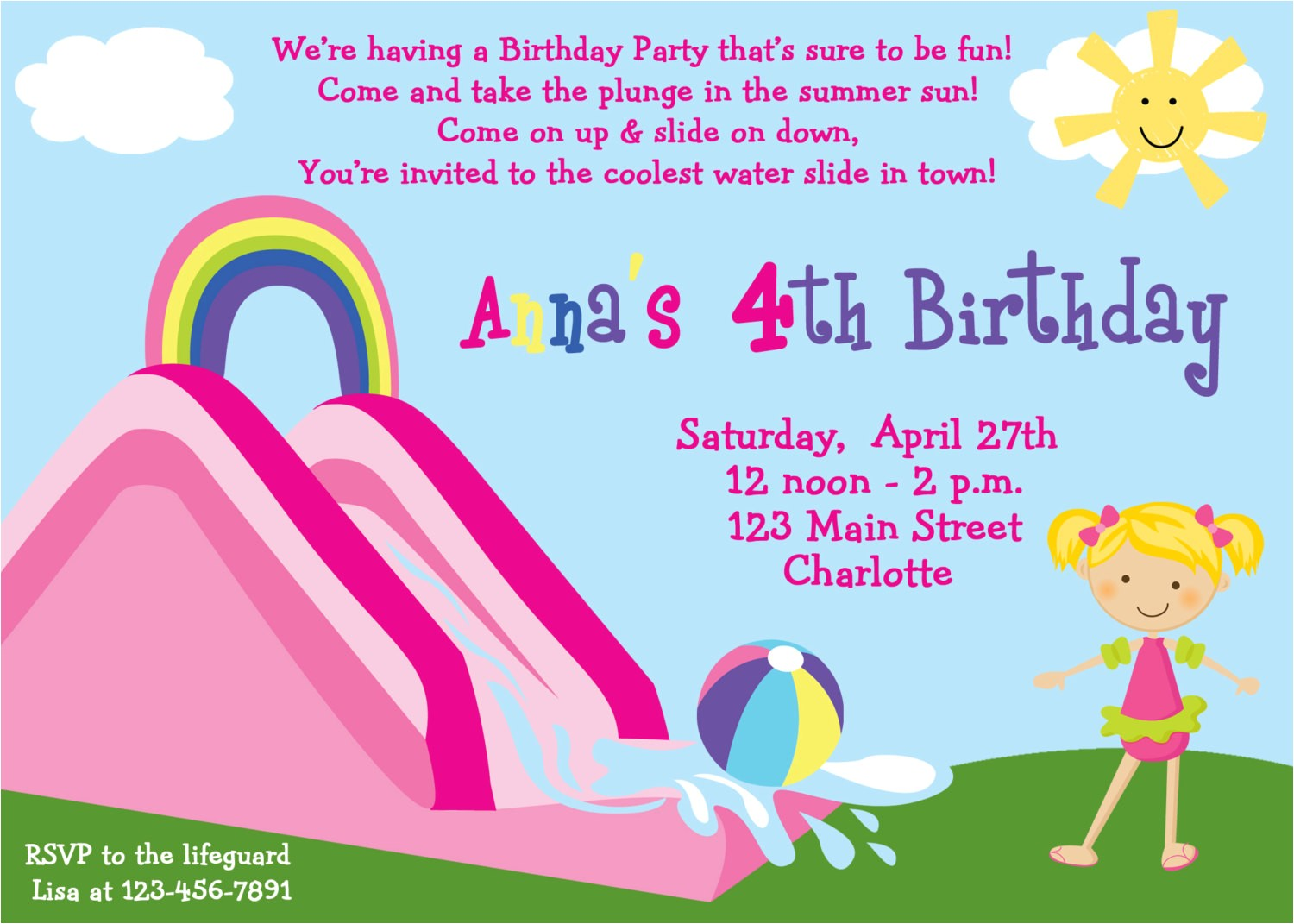waterslide party birthday invitation